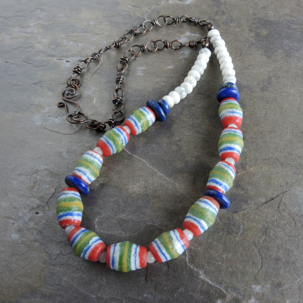 African Glass Beaded Necklace with Handcrafted Copper Chain