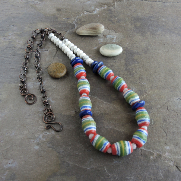 Blue and White Natural Stones Blend with African Glass Beads
