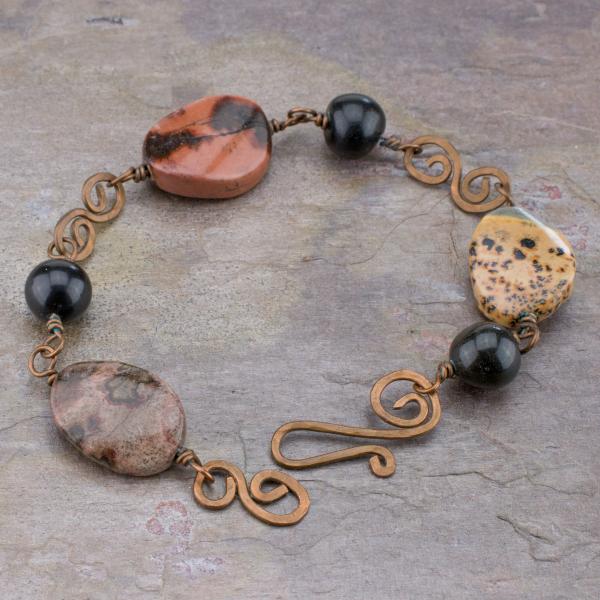 Earthy multicolored artistic stone jasper bracelet