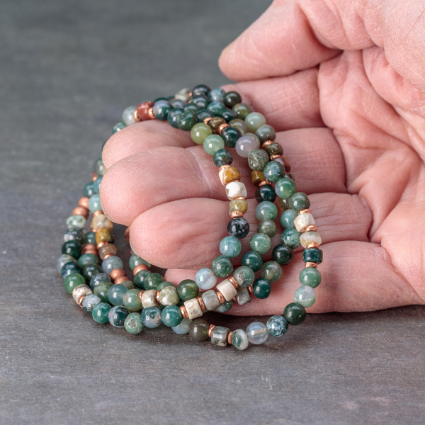 Four Wrap Bracelet with Moss Agate and Ocean Jasper