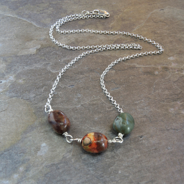 Minimalist Necklace with Jasper Pebbles