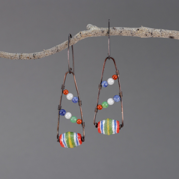 Colorful African Powder Glass and Natural Stone Earrings