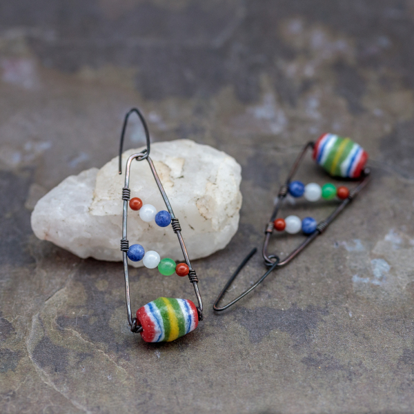 African Glass Bead Earrings Copper Wire Wrapped