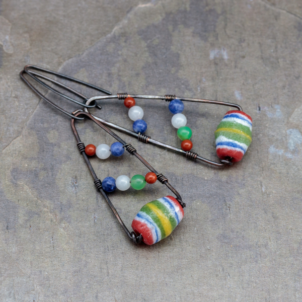Copper Wire Wrapped Ethnic Earrings