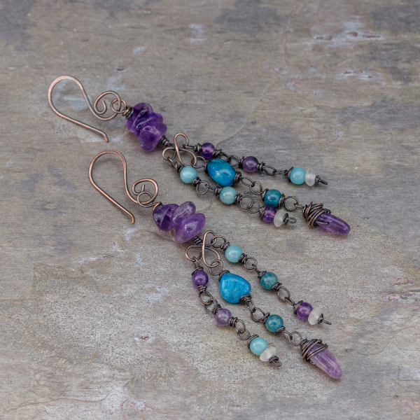 Apatite, Amazonite, Amethyst, and Quartz Stone Earrings