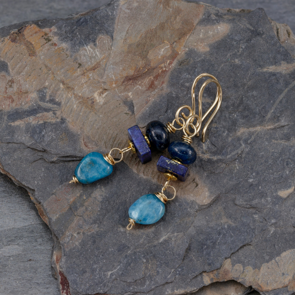 Blue with Blue-Green Natural Stone Earrings