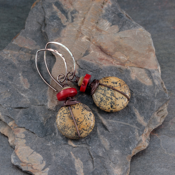 Brown Stone and Red Coral Earrings