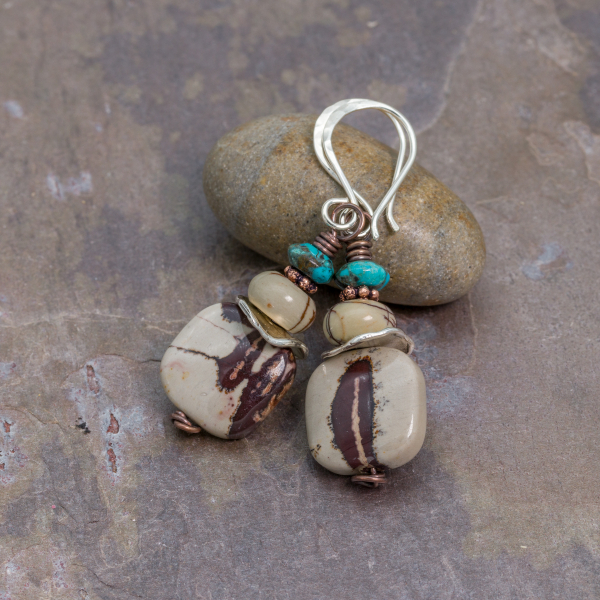 Artistic Jasper, Red Creek Jasper, and Turquoise Earrings