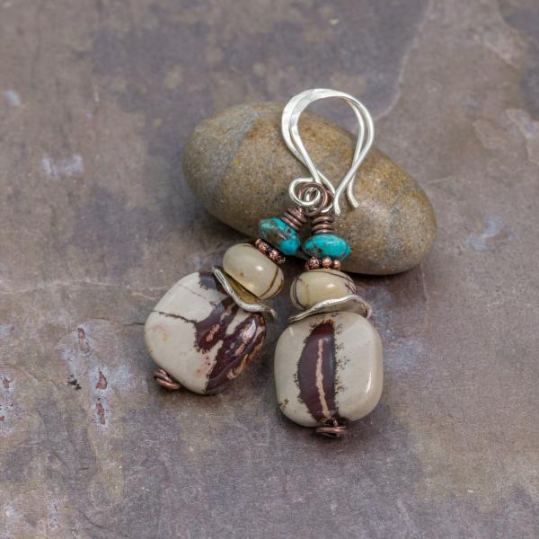 Artistic Jasper, Red Creek Jasper, and Turquoise Earrings