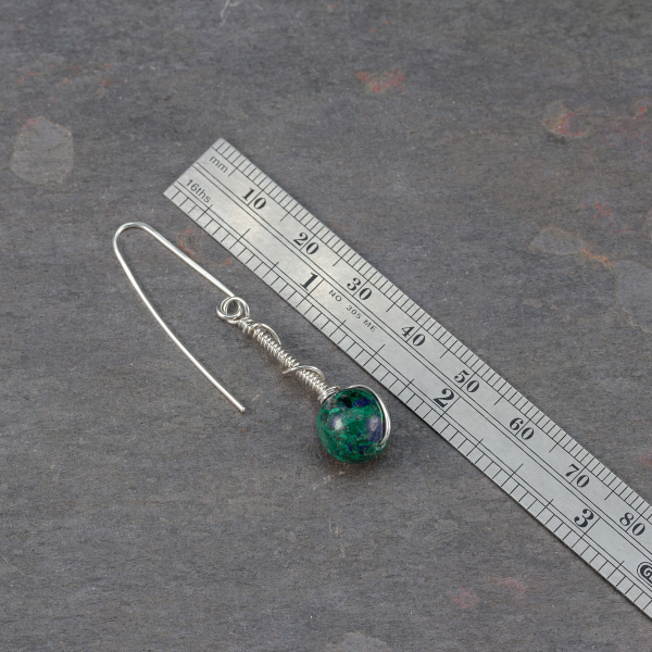 Blue Planet Earrings are 2-inches Long