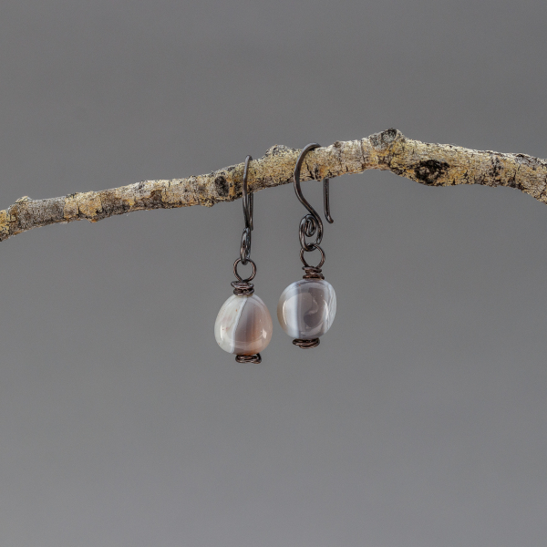 Little Copper Earrings with Striped Stones