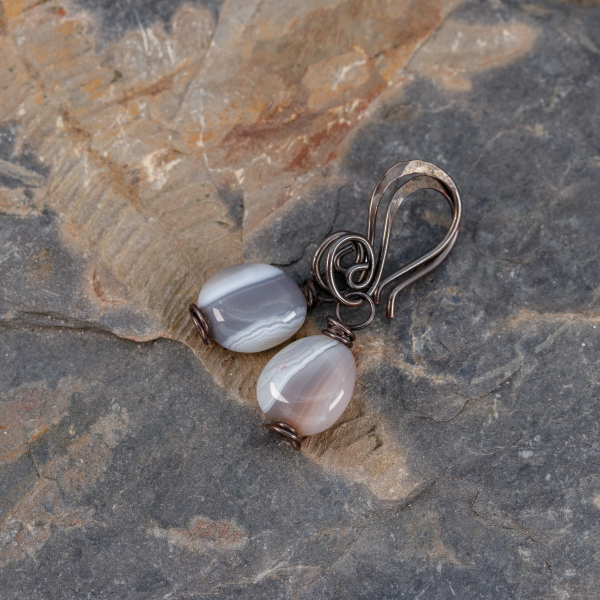Small Brown Gray White Striped Stones Grace these Copper Wire Wrapped Earrings