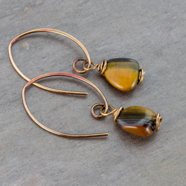 Brown tiger's-eye earrings bronze