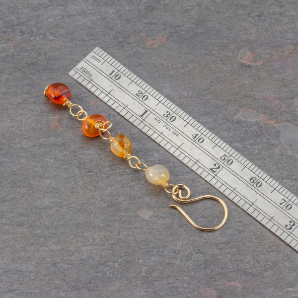 Handcrafted Carnelian Earrings are 2.5 Inches Long