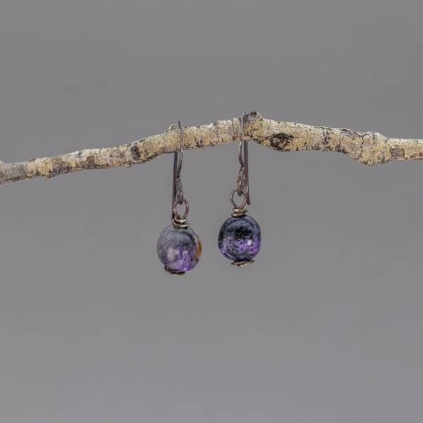 Blackened Sterling Silver Purple Stone Earrings