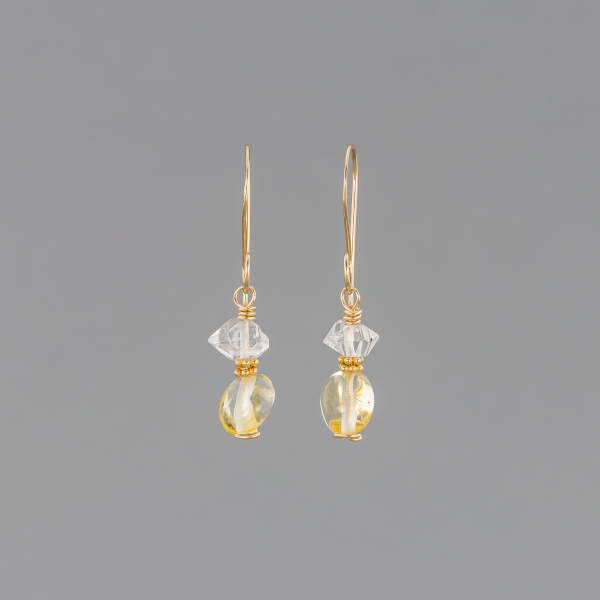 Citrine and Quartz Earrings