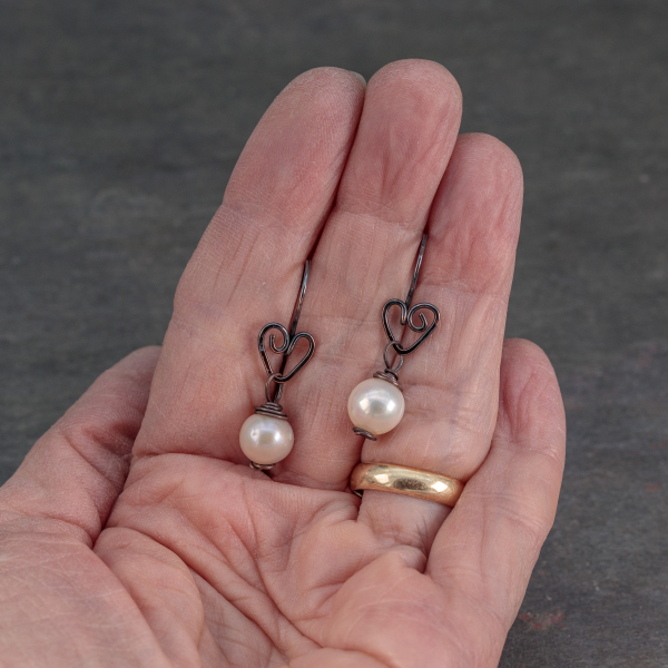 Pearl Earrings on Copper Heart Ear Hooks are 1.25 Inch Long