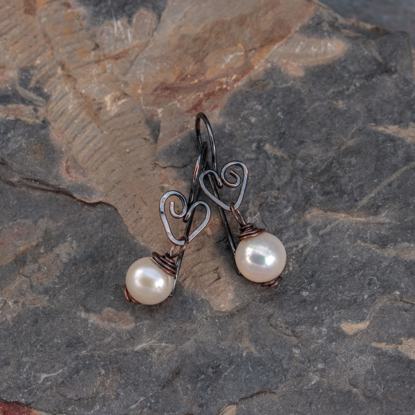Small Pearl Dangle Earrings with Heart Motif Ear Hooks