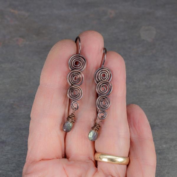 Dark Copper Earrings with Tiny Labradorite Teardrops