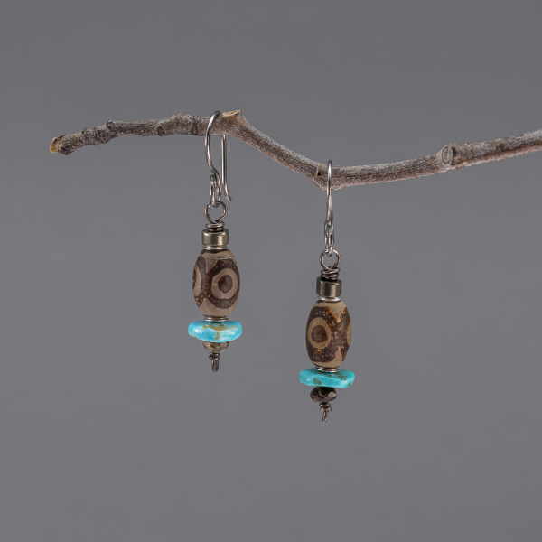 Brown Agate and Blue Turquoise Earrings