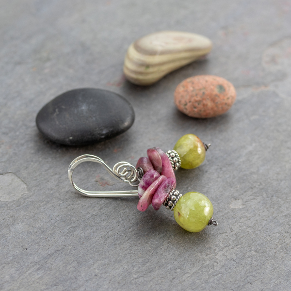 Boho Earrings with Pink and Green Stones