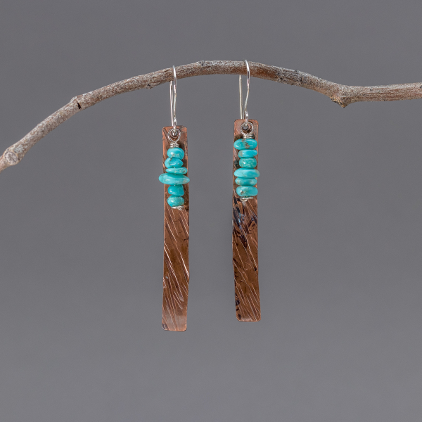 Southwest Earrings, Textured Copper and Turquoise