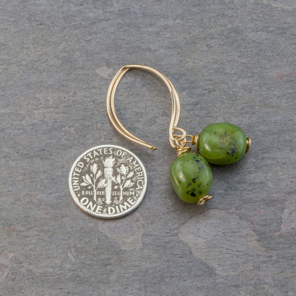 Green Jade Earrings are 1.5 Inches Long