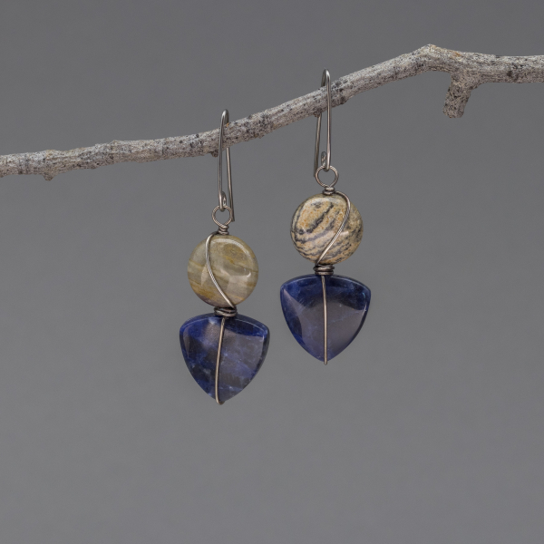 Dark Blue Sodalite Earrings with Nickel Free Ear Wires