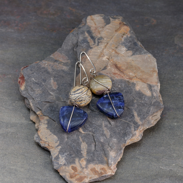Sodalite Earrings with Beige Jasper Stones