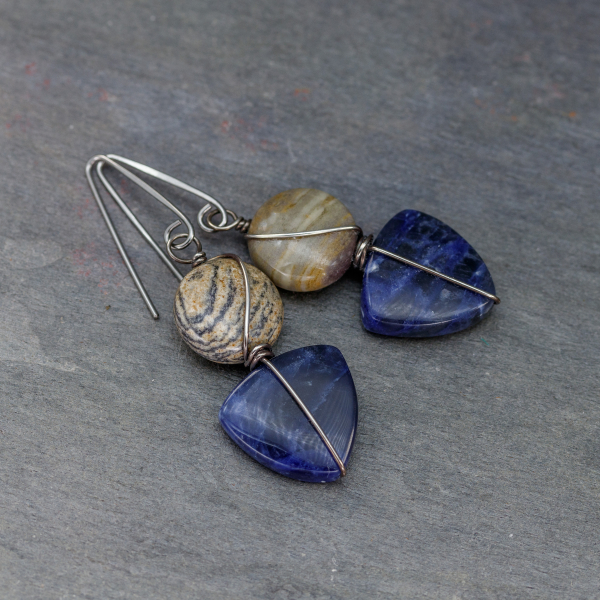 Blue Stone Earrings with Nickel-Free Hooks