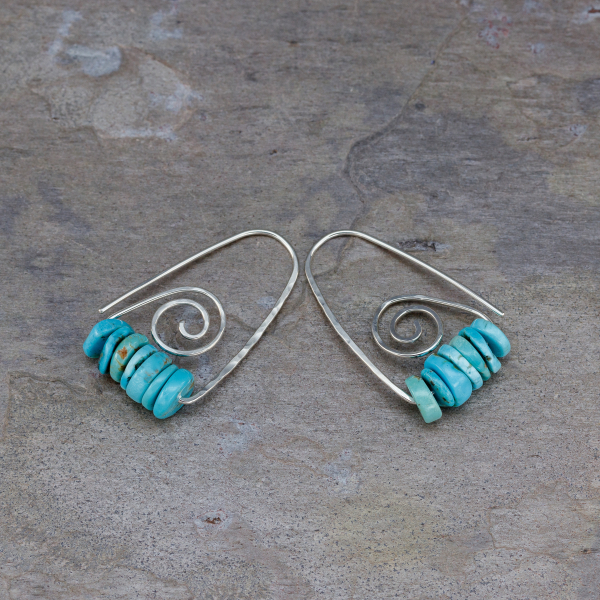 Real Turquoise Earrings Sterling Silver