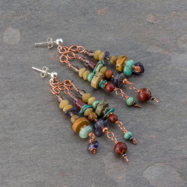 Earthy Stone Beaded Dangle Earrings