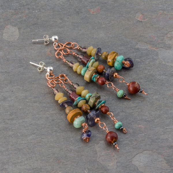 Earthy Stone Beaded Dangle Earrings