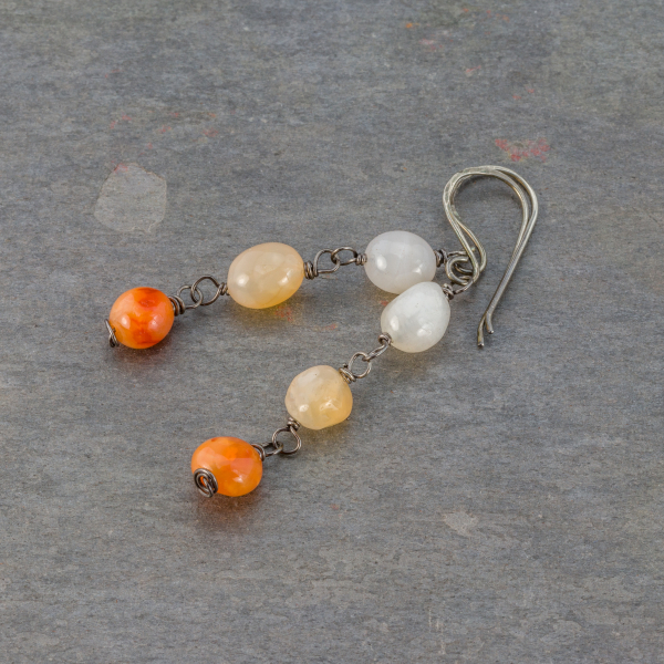 Pebble Trio Earrings in Shades of Orange
