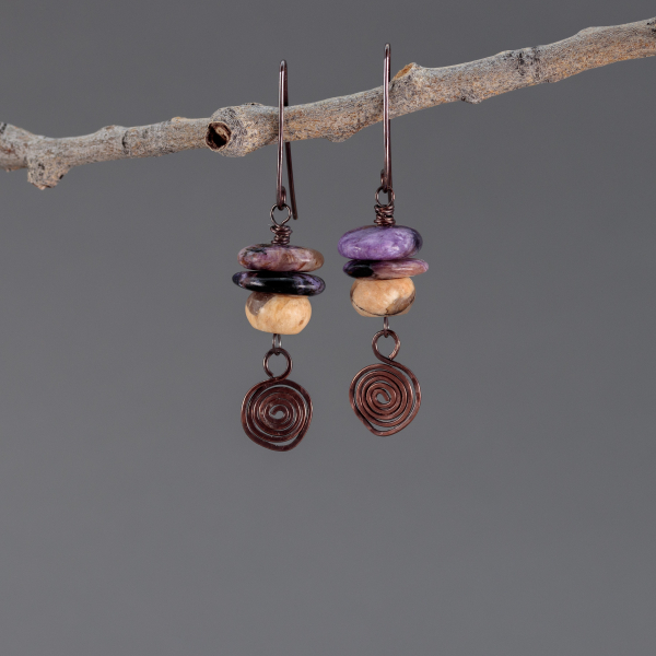Copper Wire Spiral Charm Charoite and Feldspar Earrings