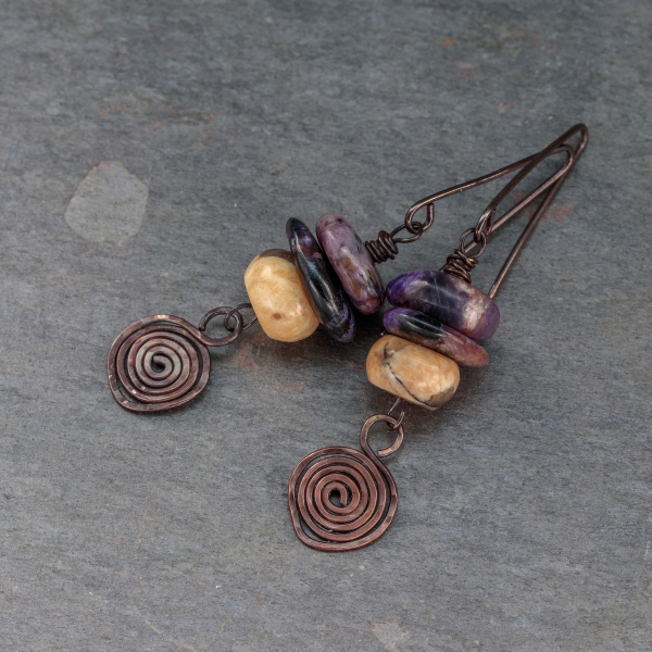 Stone Cairn Copper Spiral Earrings