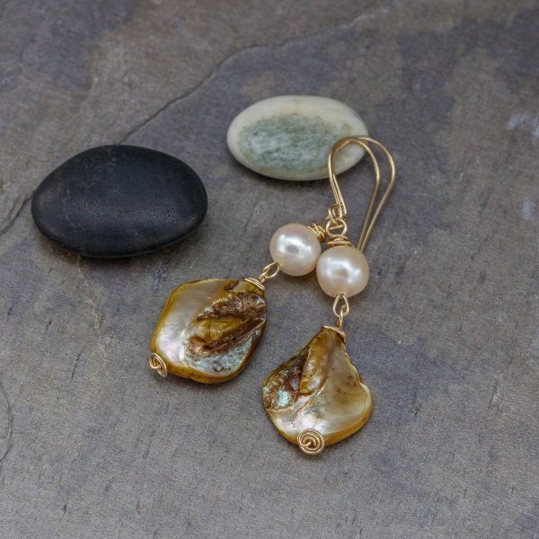 Gold Filled Earrings in Pearl and Mother of Pearl
