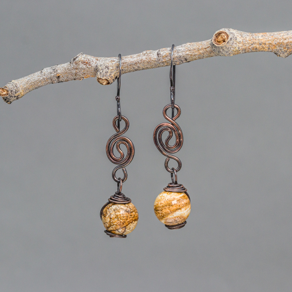 Picture Jasper Earrings are 2-inches Long