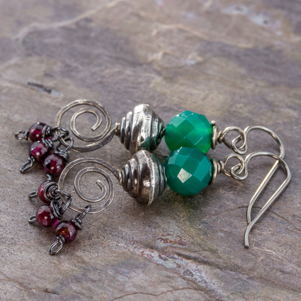 Gypsy Dangle Earrings in Christmas Colors