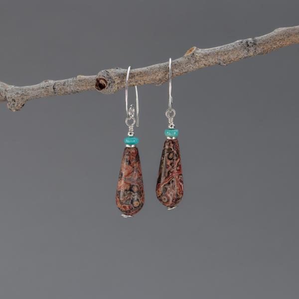 Red Leopardskin Jasper Earrings in Sterling Silver