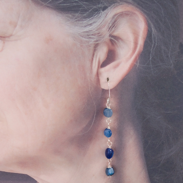 Kyanite Dangle Earrings are 3-inches Long