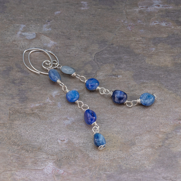 Kyanite Silver Linear Earrings