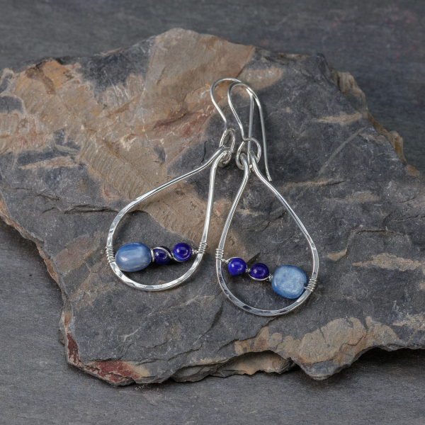 Blue Kyanite and Lapis Earrings