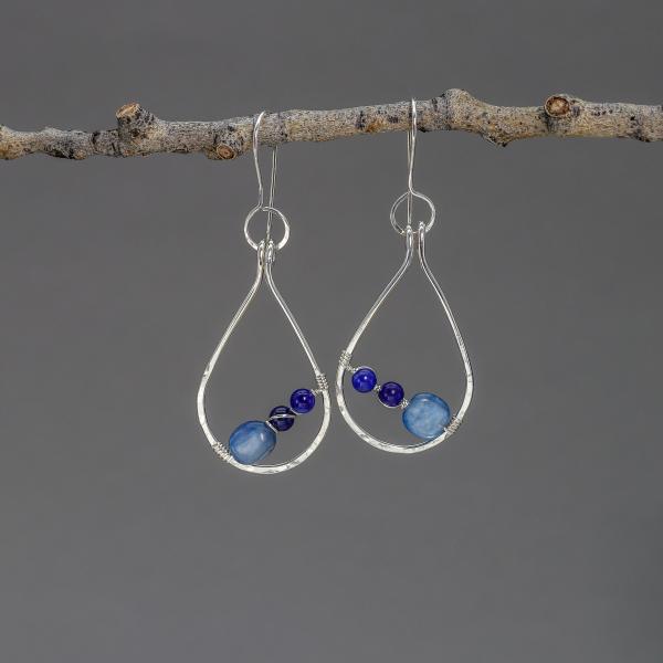 Artisan Sterling Silver Raindrop Hoop Earrings