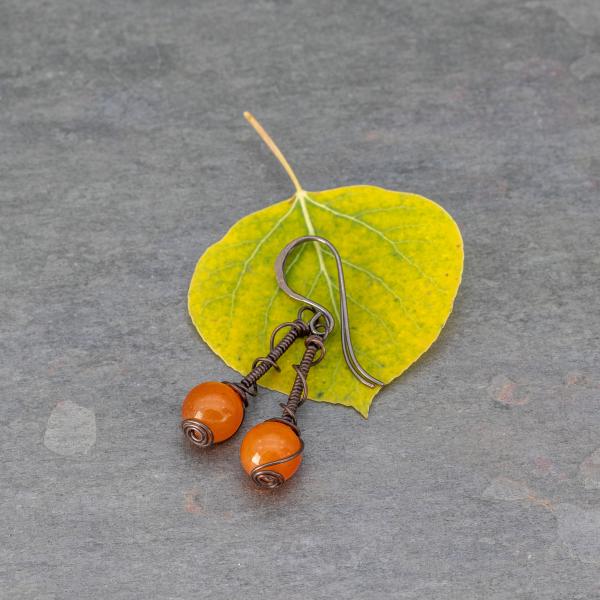 Bright Orange Jade Earrings
