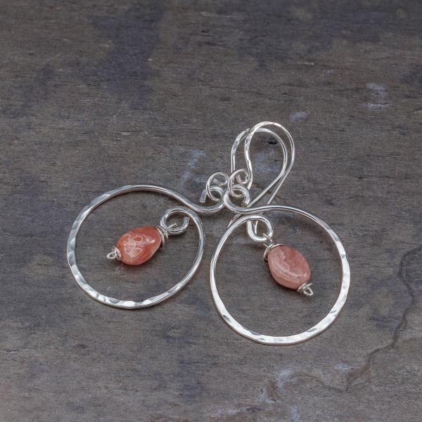 Pink Rhodochrosite Earrings in Sterling Silver
