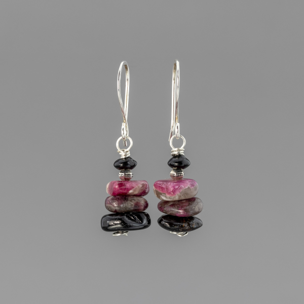 Black and Pink Tourmaline Earrings, Stacked Stone Design