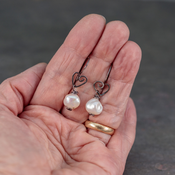 Pearl Earrings with Hearts are 1.25 Inch Long