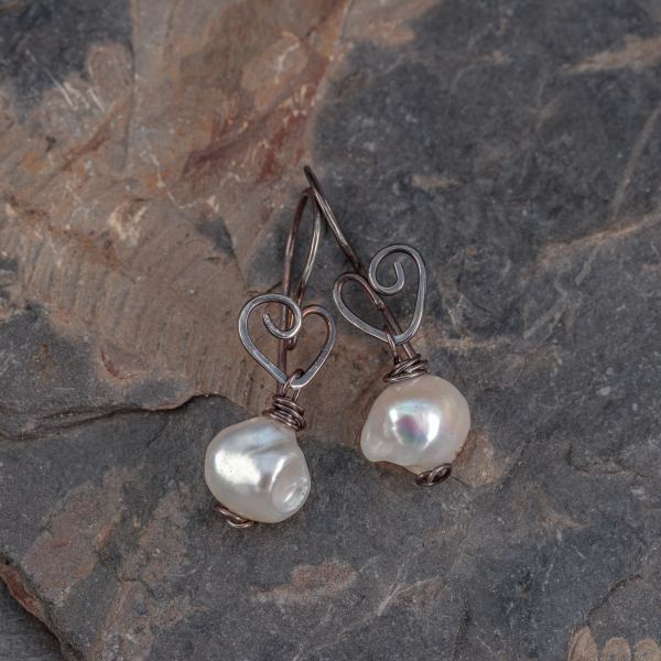 Artisan Earrings with Heart Motif and Baroque Pearls