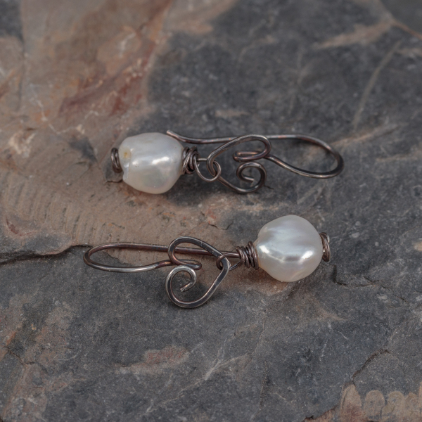 Rustic Patina Sterling Silver Heart Earrings with Pearl Drop